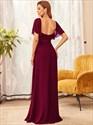 Burgundy A-Line Chiffon Lace Bodice Square Neckline Bridesmaid Dresses