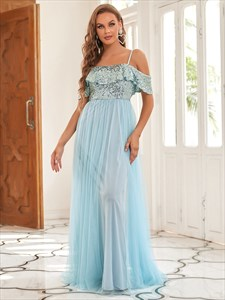Sky Blue Sequin Bodice A-Line Ruffle Sleeves Tulle Bridesmaid Dresses