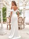 Ivory Deep V-Neck Mermaid Spaghetti Straps Floor Length Wedding Dress
