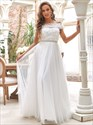 Ivory Strapless Lace Bodice A-Line Off The Shoulder Wedding Dresses