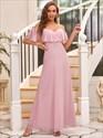 Mauve Pink Off The Shoulder Spaghetti Straps Chiffon Bridesmaid Dress