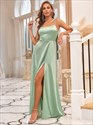 Sage Green Long Spaghetti Straps Bridesmaid Dresses With Side Split