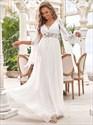 Ivory Chiffon V-Neck A-Line Lace Applique Floor Length Wedding Dresses