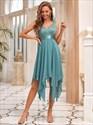 Lace Bodice Chiffon V-Neck Asymmetrical Sleeveless Homecoming Dress