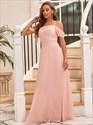 Pink Chiffon A-Line Spaghetti Straps Off The Shoulder Bridesmaid Dress