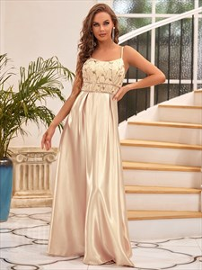 Gold Sequin A-Line Spaghetti Straps Floor Length Prom Dresses