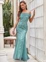 Dusty Blue Sequin Mermaid Long Off The Shoulder Evening Dresses