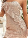 Rose Pink Strapless Sweetheart Sequin Ruffled Short Cocktail Dresses