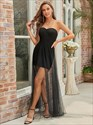 Little Black Strapless Sweetheart A-Line Tulle Party Dresses