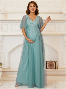 Dusty Blue V-Neck Wedding Guest Maternity Dresses With Short Sleeves