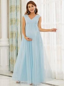 Sky Blue Lace Bodice Sleeveless V-Neck High Waisted Maternity Dresses