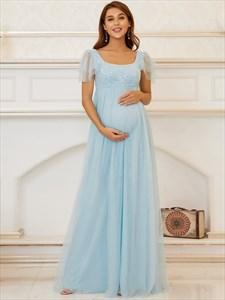 Sky Blue Square Neckline Short Sleeves High Waisted Maternity Dresses