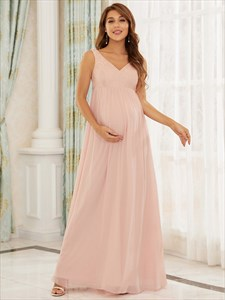 Pink Chiffon A-Line V Neck Sleeveless Lace Bodice Maternity Dresses