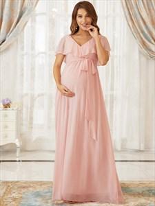 Pink Long Chiffon Maternity Bridesmaid Dress With A Ruffled V-Neckline
