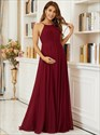 Burgundy Long Chiffon High-Neck Backless Maternity Bridesmaid Dresses