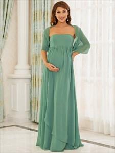 Green Strapless Long Chiffon Empire Waist Maternity Bridesmaid Dresses