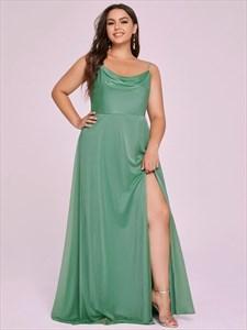 Green Ruched Bodice Spaghetti Straps Split Front Bridesmaid Dresses