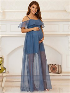 Dusty Navy Off The Shoulder Empire Waist Maternity Bridesmaid Dresses