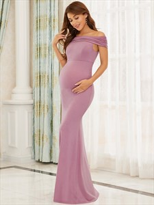 Orchid Long Mermaid/Fishtail Off The Shoulder Maternity Prom Dresses