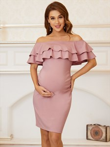 Off The Shoulder Short Maternity Prom Dress With Ruffle Neckline