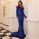 Off The Shoulder Long Sequin Overlay Mermaid Prom Dress With Feathers