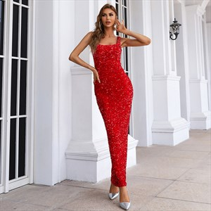 Red Sequin Sheath/Column Long Square-Neck Sequin Prom Dress