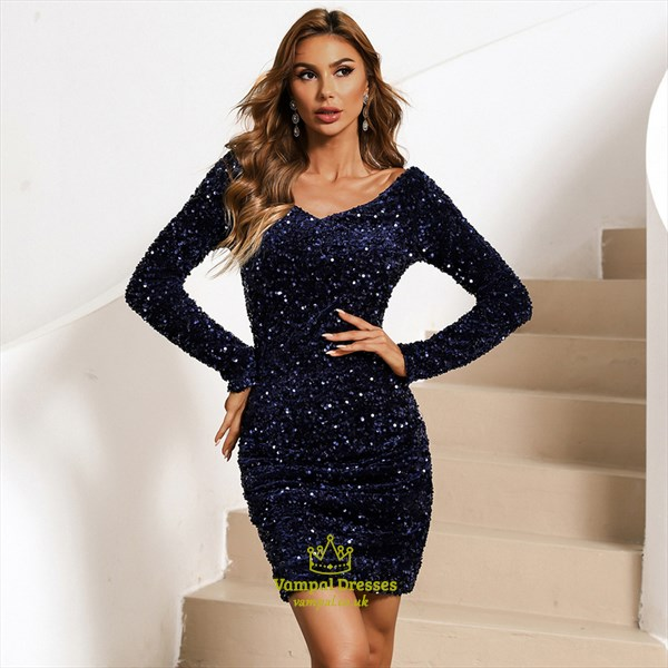 Royal Blue Sequin V-Neck Sheath/Column Party Dress With Long Sleeves