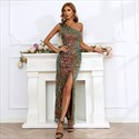 Sequin One Shoulder Sheath/Column Prom Party Dresses With Split Front