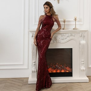 Sequin Mermaid High-Neck Prom Dresses With Tassels Embellished