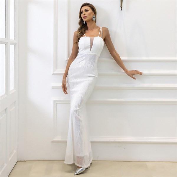 White Sequin Long Mermaid Double Spaghetti Strap Prom Evening Dresses