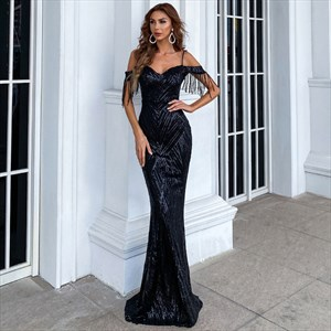 Off The Shoulder Sequin Mermaid Spaghetti Strap Prom Dresses