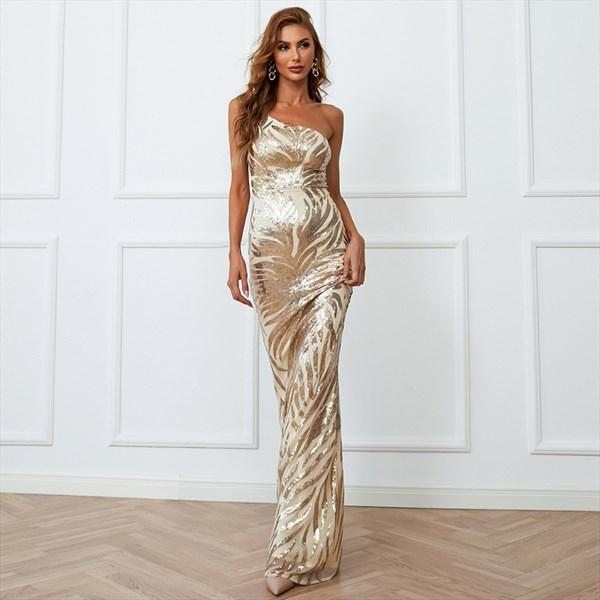 Gold Sheath/Column One-Shoulder Sleeveless Sequin Floor-Length Dresses