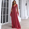 Burgundy Deep V-Neck Lace Ruched Bodice Prom Dress With Ruffle Sleeves