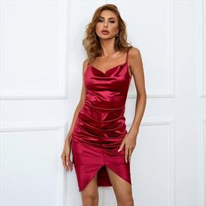 Burgundy V-Neck Ruched Bodice Spaghetti Straps Short Prom Dresses