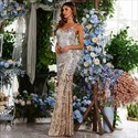 Champagne Sequin Long Mermaid V-Neck Spaghetti Straps Prom Dresses