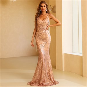 Mermaid Spaghetti Straps Floor-Length Champagne Sequin Prom Dress