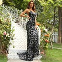 Black Lace Mermaid Spaghetti Straps Prom Dress With Criss-Cross Straps