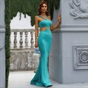 Blue Double Spaghetti Straps Long Mermaid Prom Dress With Side Cutouts