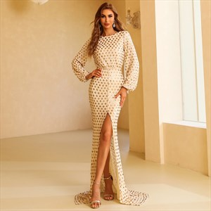Champagne Polka Dot Split Front Long Sleeve Prom Dresses With V Back