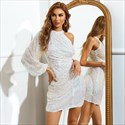White Sequin Ruched High Neck Cocktail Dress With One Shoulder Sleeves