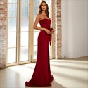 Burgundy Long Strapless Mermaid Prom Dress With Slits Up The Side
