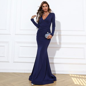 Navy Blue Ruched Bodice Long Sleeve Deep V Neck Mermaid Prom Dresses