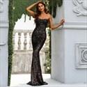 Black Strapless Sweetheart Sequin Mermaid Floor Length Evening Dresses
