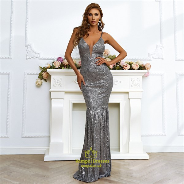 Sparkly Grey Mermaid Sequin Plunge V-Neck Spaghetti Strap Evening Gown