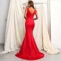 Plunging V Neck Sleeveless Floor Length Mermaid Evening Dresses
