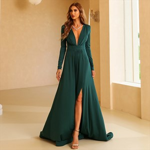 Emerald Green Deep V Neck Split Front Prom Dresses With Long Sleeves