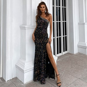 Sequin One Shoulder Sheath/Column Long Evening Gowns With Slits