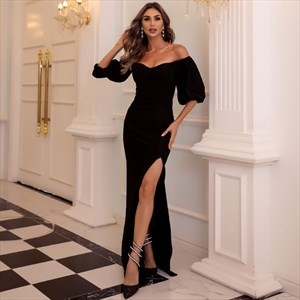 Black Long Off The Shoulder Split Front Prom Dresses With Half Sleeves