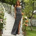 Black Spaghetti Strap Sheath/Column Prom Dress With Slits Up The Side