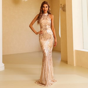 Gold Mermaid High Neck Halter Sequin Lace Overlay Backless Prom Dress